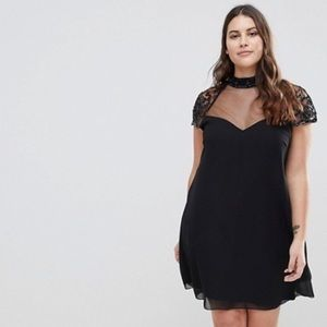 Lipsy Curve Swing Babydoll Dress with Lace Sleeves
